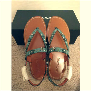 Coach Hudson Tea Rose Leather Thong Sandals-Marine
